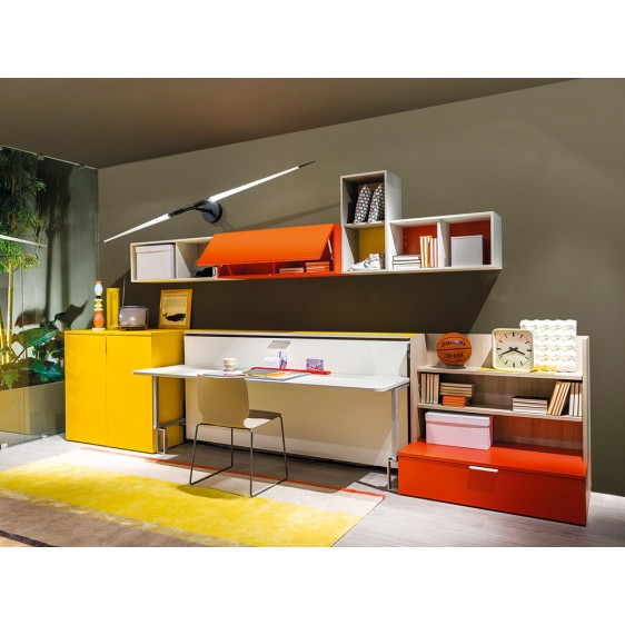 Wall bed with desk Cabrio-in by Clei